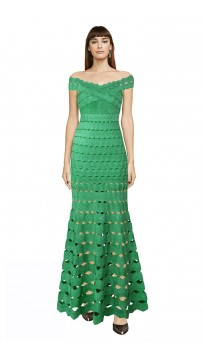 Herve Leger Bandage Dress Long Gown Off Shoulder Crisscross Green