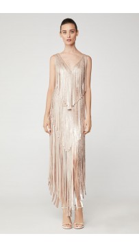 Herve Leger Izabel Metallic Fringe Dress