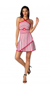 Herve Leger Bandage Dress Flared Halter Neck Stripped Red