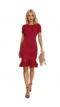 Herve Leger Short Sleeve Lace Bandage Dress