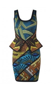Herve Leger Bandage Dresses U Neck Colorful Flouncing Jacquard