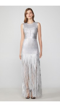 Herve Leger Foil Fringe Dress