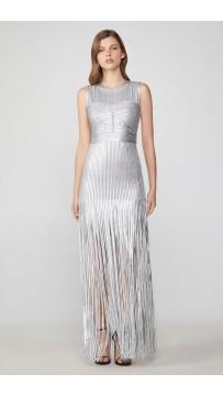 Herve Leger Foil Fringe Dress
