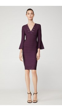 Herve Leger Eyelet Stripe Pleated Sheath Dress