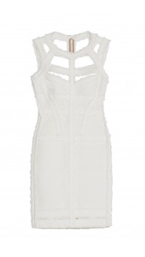 Herve Leger Madyson Chiffon Detail Dress White