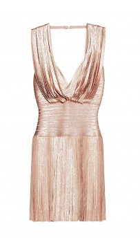 Herve Leger Naomi Foil Draped Bandage Dress