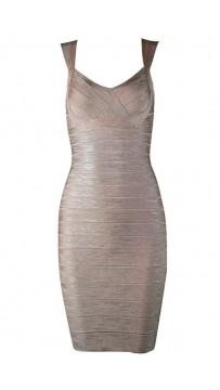 Herve Leger Abrielle Woodgrain Foil Printed Bandage Dress Pink