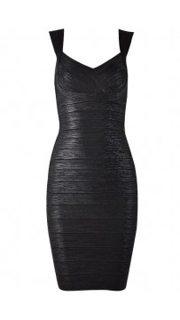 Herve Leger Abrielle Woodgrain Foil Printed Bandage Dress Black