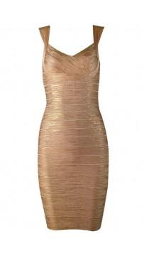 Herve Leger Abrielle Woodgrain Foil Printed Bandage Dress Golden