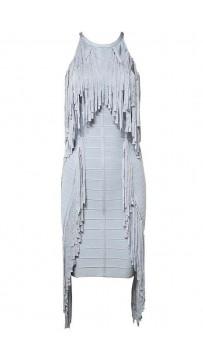 Herve Leger Halter Draped-Fringe Bandage Dress
