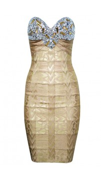 Herve Leger Metallic Strapless Bandage Dress