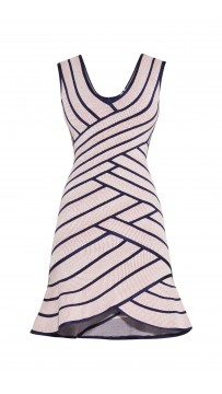 Herve Leger Millie Striped Twill Raised Jacquard Dress