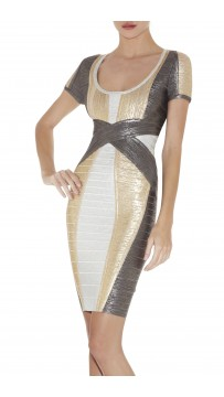 Herve Leger Carolyn Colorblocked Foil-Print Dress