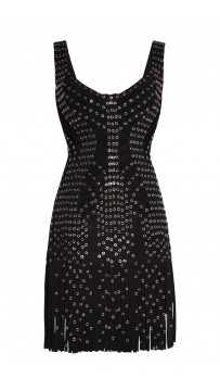Herve Leger Hayleigh Eyelet Fringe Dress