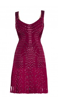 Herve Leger Dark Maroon Hayleigh Eyelet Fringe Dress