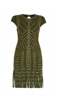 Herve Leger Kale Haylee Eyelet Fringe Dress