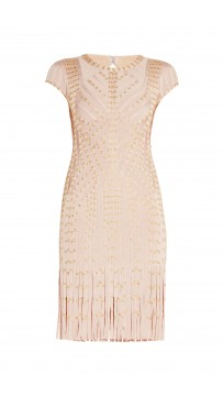 Herve Leger Bare Combo Haylee Eyelet Fringe Dress