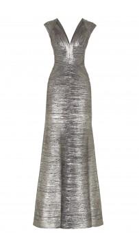 Herve Leger Leslie Woodgrain Foil Print Gown