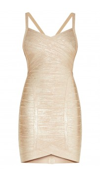 Herve Leger Light Gold Kourtney Woodgrain Foil Dress