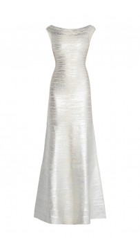 Herve Leger Sophia Metallic Foil Mermaid Gown