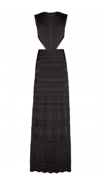 Herve Leger Black Alondra Pointelle Bandage Gown