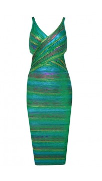 Herve Leger Foil Metallic Bandage Dresses Green V Neck Crisscross Backless