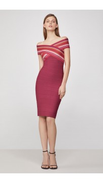 Herve Leger Striped off the Shoulder Sheath Dress