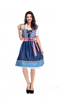 Womens Dress Traditional Dirndl Blouse Apron Outfit