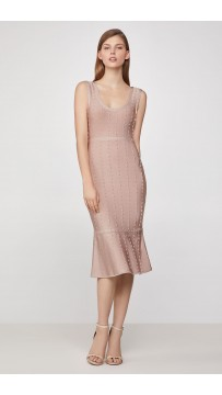 Herve Leger Metallic Picot Scoop Neck Dress