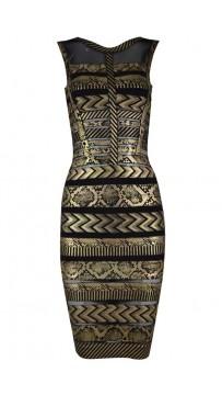 Herve Leger Bandage Dresses Sequin Foil Gauze Metallic Bronze