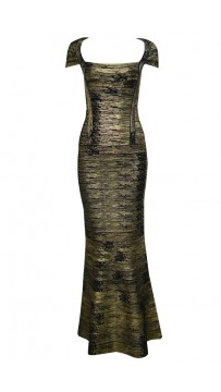 Herve Leger Bandage Dresses Long Gown Metallic Black Golden V Neck