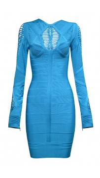 Cheap Herve Leger Bandage Dresses Long Sleeve Net Blue