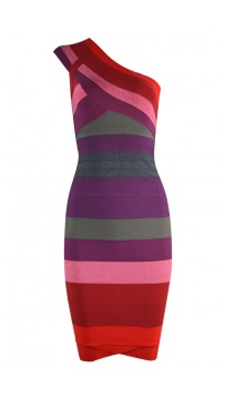Herve Leger Bandage Dresses One Shoulder Ombre Red Club Dress