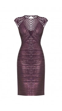 Herve Leger Frances Foiled Purple Metal  Bandage Applique Dress