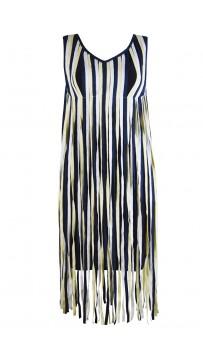 Herve Leger Bandage Dresses V Neck Blue Yellow Colorblock Tassels Mini Dress
