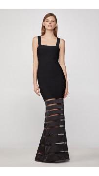 Herve Leger Striped Tulle Bandage Gown - Black