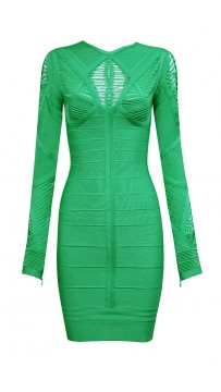 Cheap Herve Leger Bandage Dresses Long Sleeve Net Green