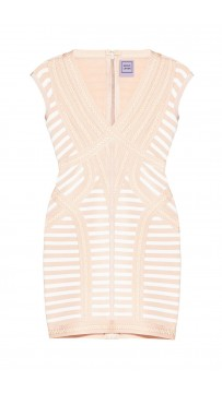 Herve Leger Katina Striped Lacing Detail Dress