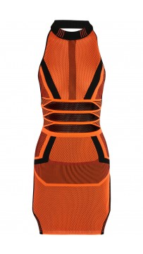 Herve Leger Bandage Dress Long Sleeve Jacquared Orange