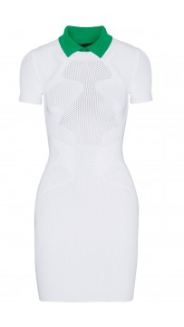 Herve Leger Celebrity Bandage Dresses Casual Polo Collar White