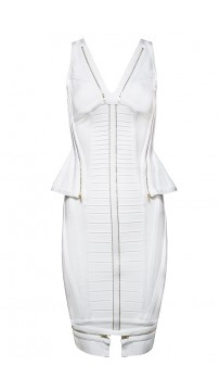 Herve Leger Bandage Dresses V Neck Flouncing Zip Back White