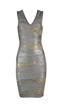 Herve Leger Bandage Dresses Foil Sequin V Neck Grey