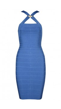 Herve Leger Bandage Dresses Crisscross Halter Sequined Blue