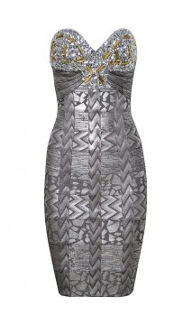 Herve Leger Silver Strapless Bandage Dress