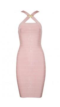 Herve Leger Bandage Dresses Crisscross Halter Sequined Pink