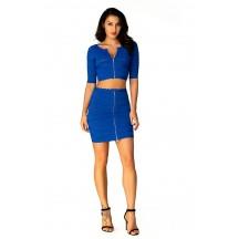 Herve Leger Bandage Dresses Two Piece Half Sleeve Mini Dress Blue