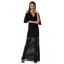 Herve Leger Bandage Dress Long Halter V Neck Ankle Length Black