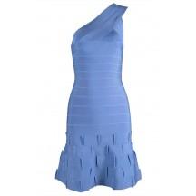 Herve Leger One Shoulder Ruffled Hem Dresse Dress Blue