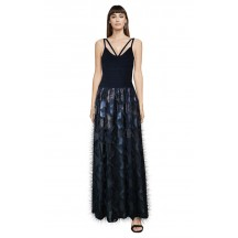 Herve Leger Bandage Dress Long Gown Flared Feather Navy Blue