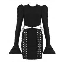 Black Flare Long Sleeve Hollow Out Bandage Dress